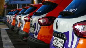 Group of modern car sharing cars