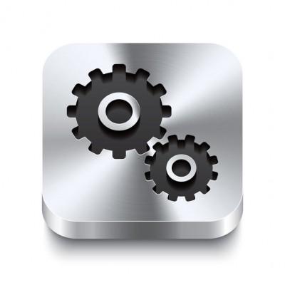 Square metal button perspektive - gear icon