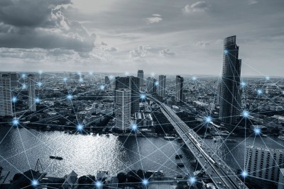 Black and white smart city with network connections, communicati