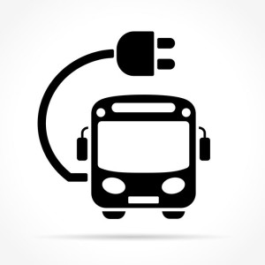 electric bus icon on white background