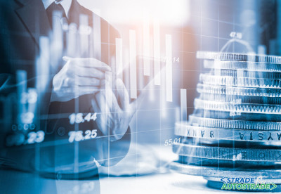 Double exposure businessman and stock market or forex graph suit
